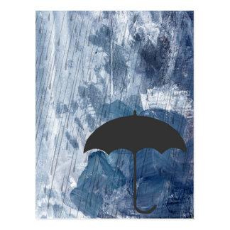 Paraplu in Blauwe Douche Briefkaart