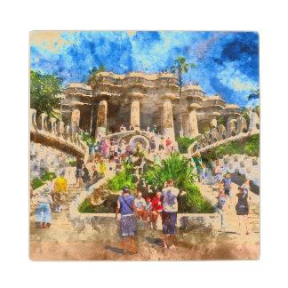 Parc Guell in Barcelona Spanje Houten Onderzetter