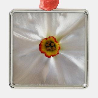 parel witte narcissen zilverkleurig vierkant ornament