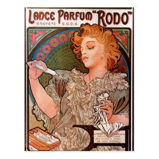 Parfum Rodo van de lans door Alphonse Mucha Briefkaart