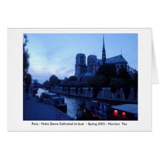 Parijs - Notre Dame bij Schemer Wenskaart