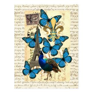 Parijs, pauw en vlinders briefkaart