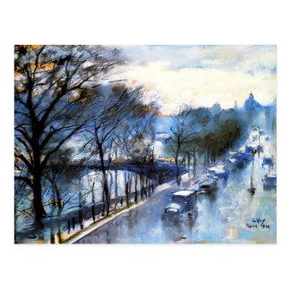 Parijs, Regenachtige Vintage Cityscape van de Dag Briefkaart