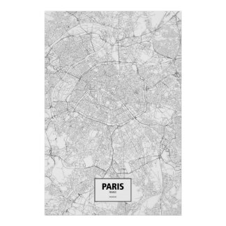 Parijs, zwart Frankrijk (op wit) Poster