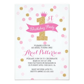 Partij van de verjaardag | de Eerste Prinses van 12,7x17,8 Uitnodiging Kaart
