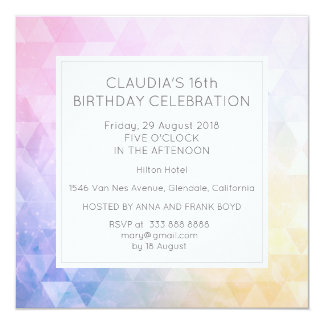Partij van de Verjaardag Traingle van de 13,3x13,3 Vierkante Uitnodiging Kaart