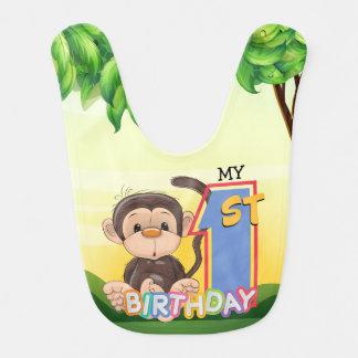 Partij van de Verjaardag van de aap de 1st Baby Slabbetje