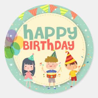 Partij van de Verjaardag van de capricieuze Kinder Ronde Sticker