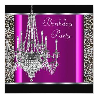 Partij van de Verjaardag van de Luipaard van de 13,3x13,3 Vierkante Uitnodiging Kaart
