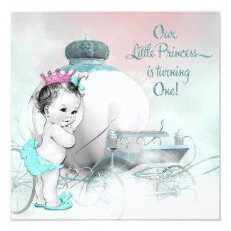 Partij van de Verjaardag van de prinses de 1st 13,3x13,3 Vierkante Uitnodiging Kaart