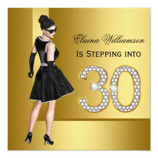 Partij van de Verjaardag van de vrouw de 30ste 13,3x13,3 Vierkante Uitnodiging Kaart