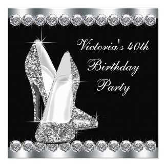 Partij van de Verjaardag van de vrouw de Elegante 13,3x13,3 Vierkante Uitnodiging Kaart
