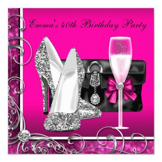 Partij Van De Verjaardag Van De Vrouw De Hete Roze Kaart Zazzle Nl