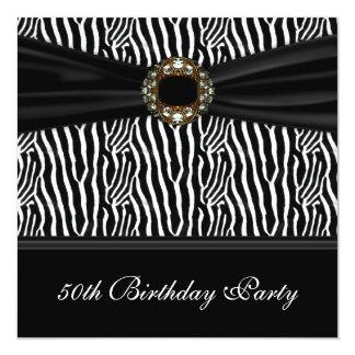 Partij van de Verjaardag van de zwarte Gestreepte 13,3x13,3 Vierkante Uitnodiging Kaart