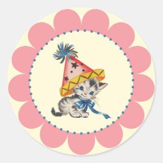 Partij van de Verjaardag van het kat | Retro Ronde Sticker