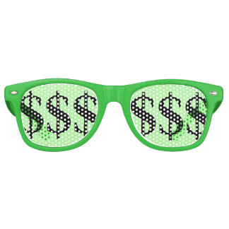Partij van het Teken van de Dollar van de pret de Retro Zonnebril