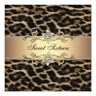 Partij van Verjaardag Zestien van de luipaard de 13,3x13,3 Vierkante Uitnodiging Kaart