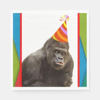 Partij zoals een Dierlijke Gorilla met de Wegwerp Servet