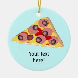 Pas deze grafische Plak van Pizza aan Rond Keramisch Ornament