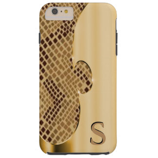Pas dit fauxgoud aan en snakeskin tough iPhone 6 plus hoesje