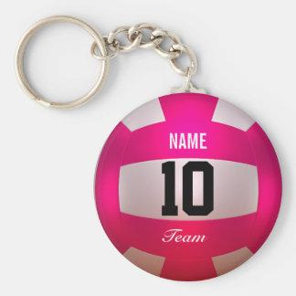 Pas het Heldere Roze van het Volleyball aan Basic Ronde Button Sleutelhanger