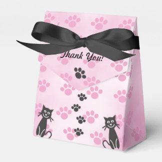Pas Print van de Poot van de Kat het Roze Zwarte Bedankdoosjes