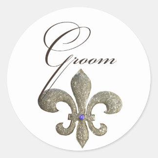 Pas uw eigen ontwerp fleur-DE-Lis aan Ronde Sticker