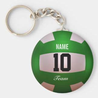 Pas Volleyball Forest Green aan Basic Ronde Button Sleutelhanger
