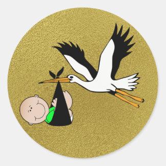 Pasgeboren Levering door Ooievaar Ronde Stickers