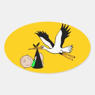 Pasgeboren Levering door Ooievaar Ovaalvormige Sticker