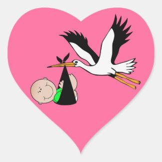 Pasgeboren Levering door Ooievaar Hartvormige Sticker