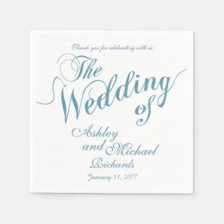 pastelkleur blauw & wit huwelijk wegwerp servetten