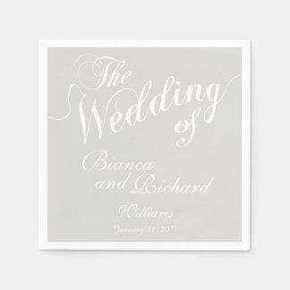 pastelkleur lichtgrijs & wit huwelijk wegwerp servet
