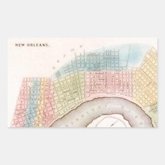 Pastelkleuren van de Kaart van New Orleans NOLA Rechthoekige Sticker
