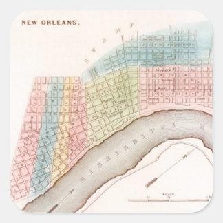 Pastelkleuren van de Kaart van New Orleans NOLA Vierkante Sticker