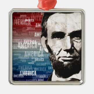 Patriot Abraham Lincoln Zilverkleurig Vierkant Ornament