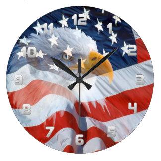 Patriottisch Kaal Eagle en de Amerikaanse Vlag Grote Klok