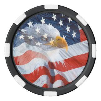 Patriottisch Kaal Eagle over de Amerikaanse Vlag Pokerchips