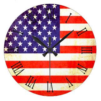 Patriottische Amerikaanse de muurklok van vlag Grote Klok