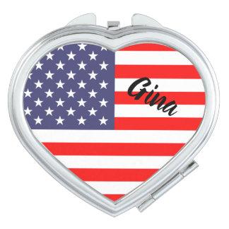 Patriottische Amerikaanse vlag gepersonaliseerde Reisspiegeltje