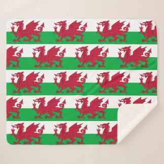 Patriottische Deken Sherpa met de vlag van Wales