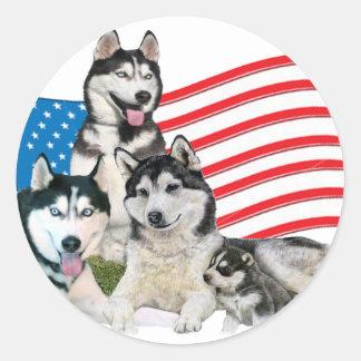 Patriottische Siberische Schor Familie Ronde Sticker