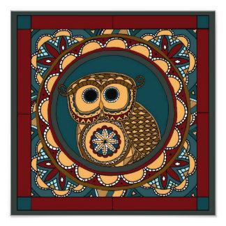 Patriottische Uil Mandala Fotoafdrukken