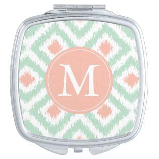 Patroon het met monogram van Ikat van de Diamant Make-up Spiegeltje