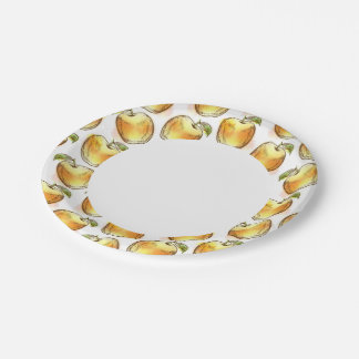 Patroon met gele appel papieren bordje
