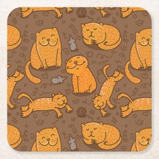 Patroon met Katten Vierkante Onderzetter