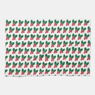Patroon van de Bladeren van de Bessen van Kerstmis Theedoek