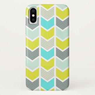 Patroon van de Chevron van Aqua het Blauwe Gele iPhone X Hoesje