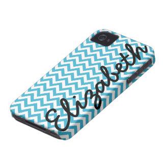 Patroon van de Chevron van Aqua het Blauwe Witte iPhone 4 Hoesje