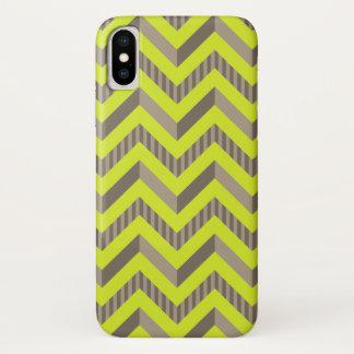 Patroon van de Chevron van het limoen het Groene & iPhone X Hoesje